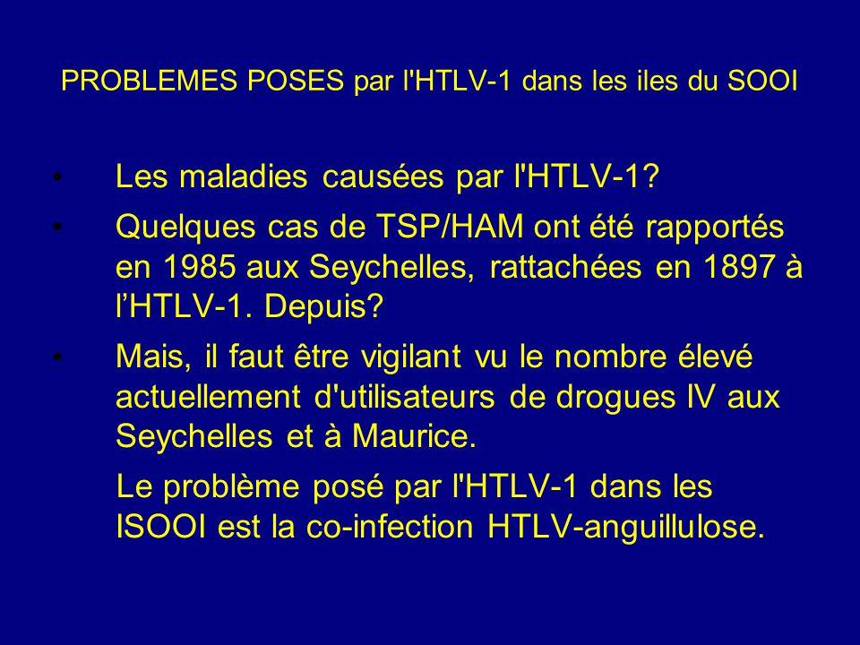 PROBLEMES POSES par l'HTLV-1 dans les iles du SOOI Les maladies causées par l'HTLV-1? Quelques cas de TSP/HAM ont été rapportés en 1985 aux Seychelles