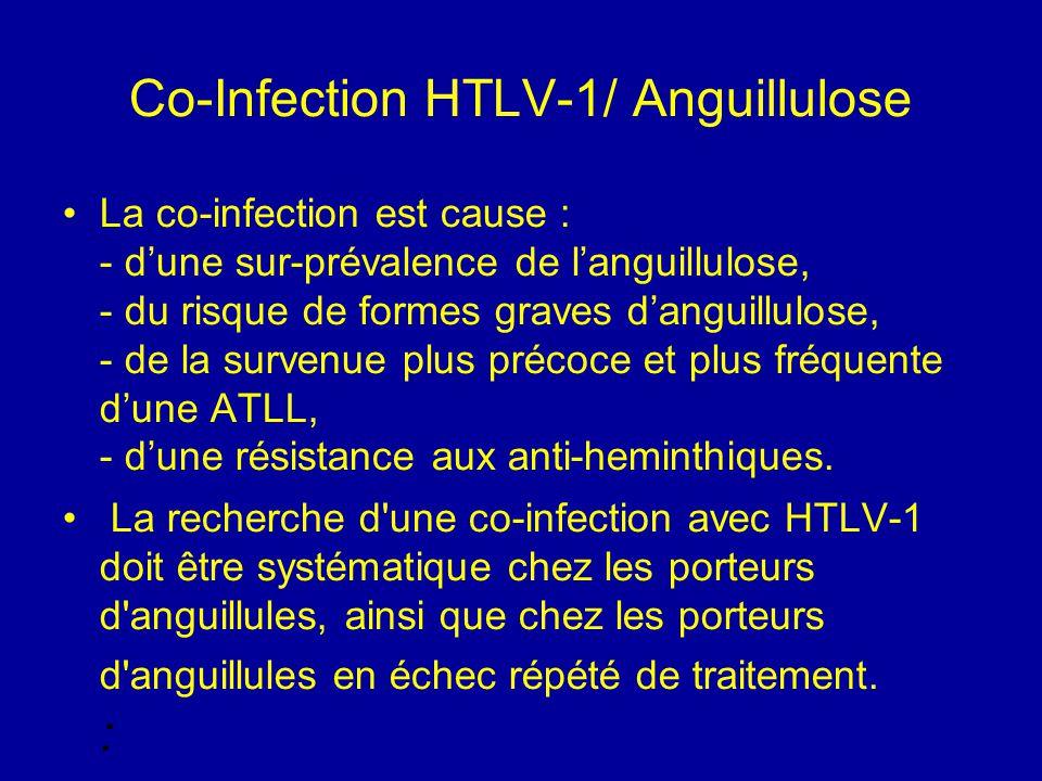 Co-Infection HTLV-1/ Anguillulose La co-infection est cause : - d'une sur-prévalence de l'anguillulose, - du risque de formes graves d'anguillulose, -