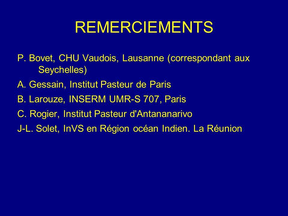 REMERCIEMENTS P. Bovet, CHU Vaudois, Lausanne (correspondant aux Seychelles) A. Gessain, Institut Pasteur de Paris B. Larouze, INSERM UMR-S 707, Paris