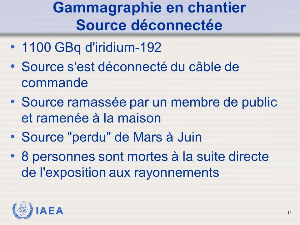 IAEA Gammagraphie en chantier Source déconnectée 1100 GBq d'iridium-192 Source s'est déconnecté du câble de commande Source ramassée par un membre de