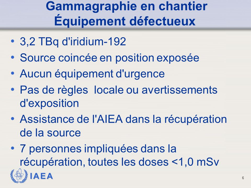 IAEA Gammagraphie en chantier Équipement défectueux conteneur de plomb tube de guidage 7