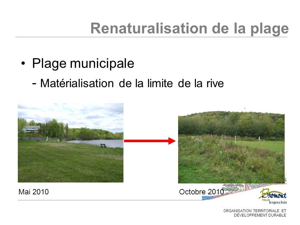 ORGANISATION TERRITORIALE ET DÉVELOPPEMENT DURABLE Plage municipale - Matérialisation de la limite de la rive Mai 2010Octobre 2010 Renaturalisation de la plage