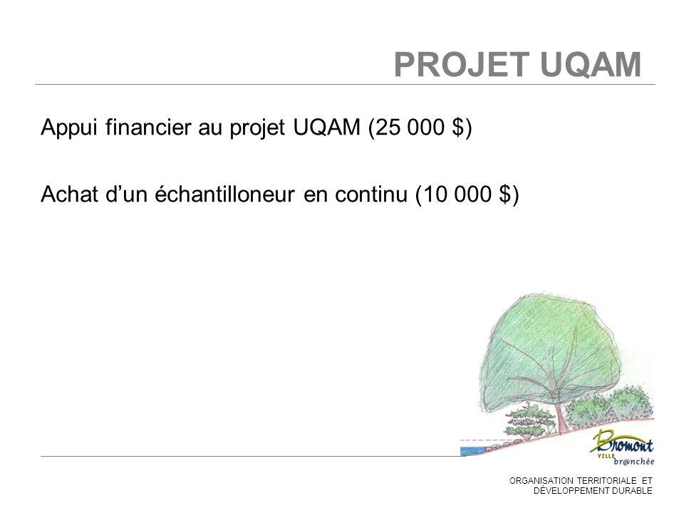 ORGANISATION TERRITORIALE ET DÉVELOPPEMENT DURABLE PROJET UQAM Appui financier au projet UQAM (25 000 $) Achat d'un échantilloneur en continu (10 000 $)