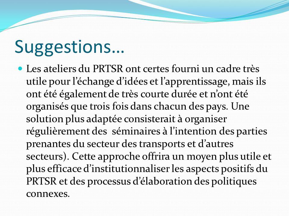 Suggestions… Les ateliers du PRTSR ont certes fourni un cadre très utile pour l'échange d'idées et l'apprentissage, mais ils ont été également de très courte durée et n'ont été organisés que trois fois dans chacun des pays.