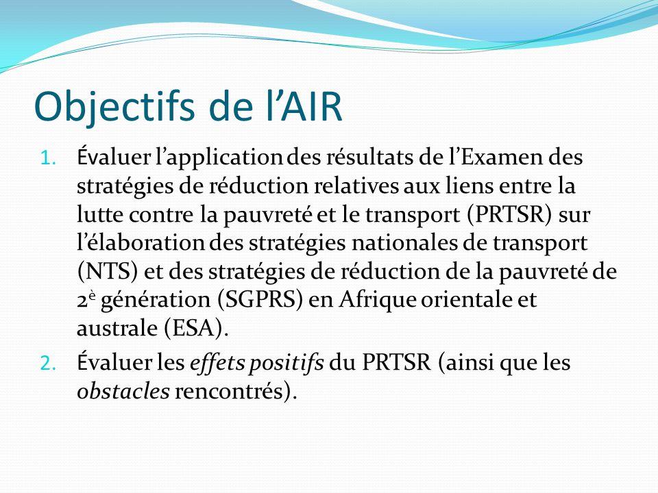 Principales conclusions de l'AIR Le processus PRTSR dans les cinq pays de l'ESA se trouve au stade de la mise en œuvre des recommandations et des plans d'action.