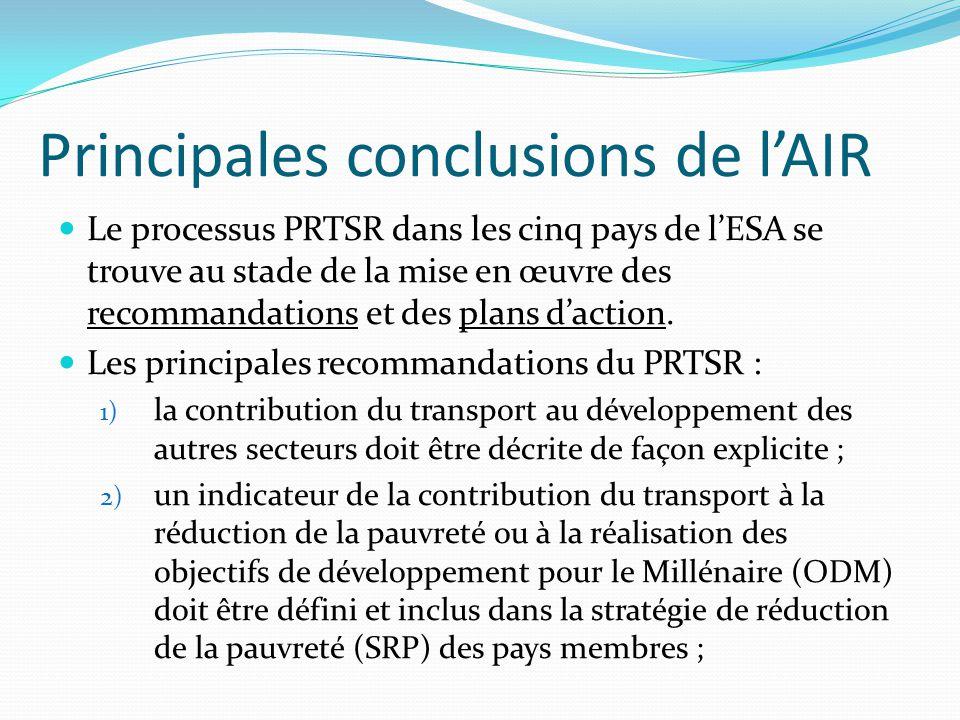 Principales conclusions de l'AIR Le processus PRTSR dans les cinq pays de l'ESA se trouve au stade de la mise en œuvre des recommandations et des plan
