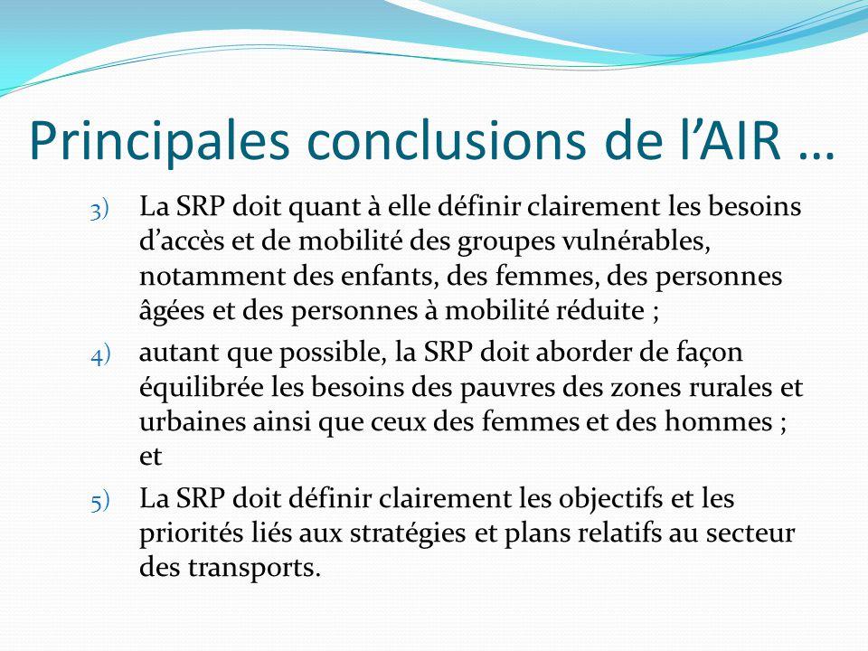 Adoption des résultats du PRTST Des progrès considérables ont été accomplis dans l'intégration des recommandations et des plans d'action du PRTSR dans les SRP de deuxième génération et les stratégies nationales de transport (SNT).