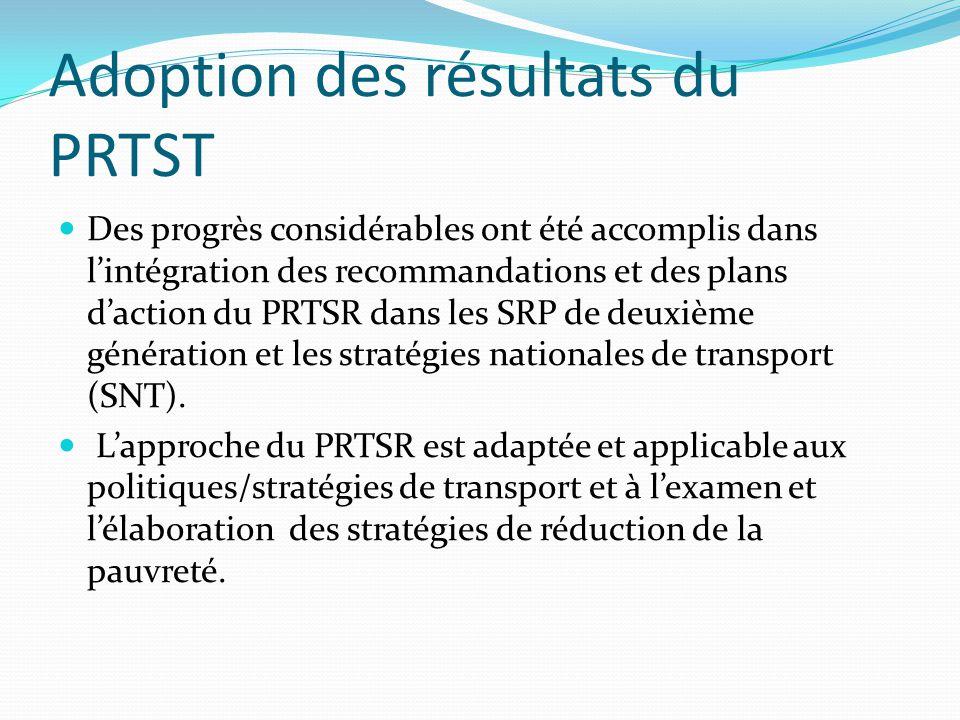 Adoption des résultats du PRTST Des progrès considérables ont été accomplis dans l'intégration des recommandations et des plans d'action du PRTSR dans
