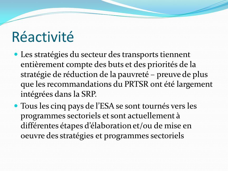 Réactivité Les stratégies du secteur des transports tiennent entièrement compte des buts et des priorités de la stratégie de réduction de la pauvreté