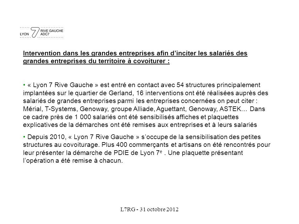 L7RG - 31 octobre 2012 Intervention dans les grandes entreprises afin d'inciter les salariés des grandes entreprises du territoire à covoiturer : « Ly