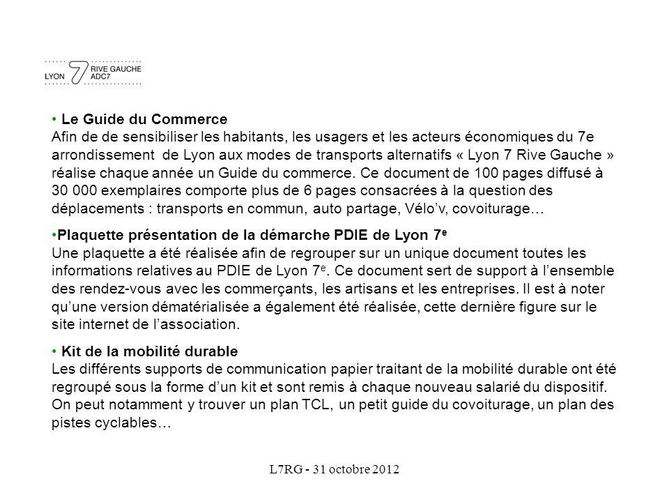 L7RG - 31 octobre 2012 Le Guide du Commerce Afin de de sensibiliser les habitants, les usagers et les acteurs économiques du 7e arrondissement de Lyon aux modes de transports alternatifs « Lyon 7 Rive Gauche » réalise chaque année un Guide du commerce.