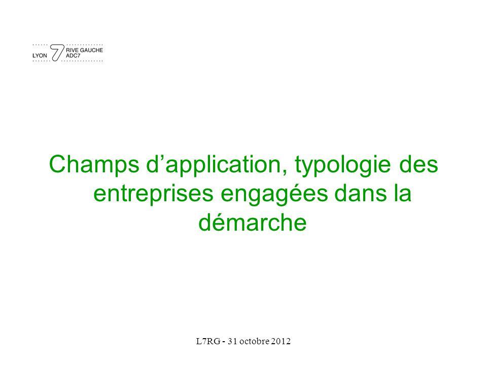 L7RG - 31 octobre 2012 Champs d'application, typologie des entreprises engagées dans la démarche