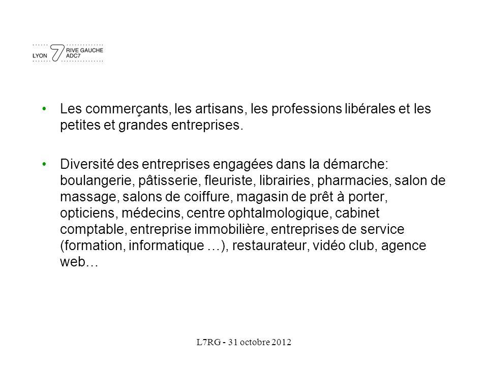 L7RG - 31 octobre 2012 Les commerçants, les artisans, les professions libérales et les petites et grandes entreprises. Diversité des entreprises engag