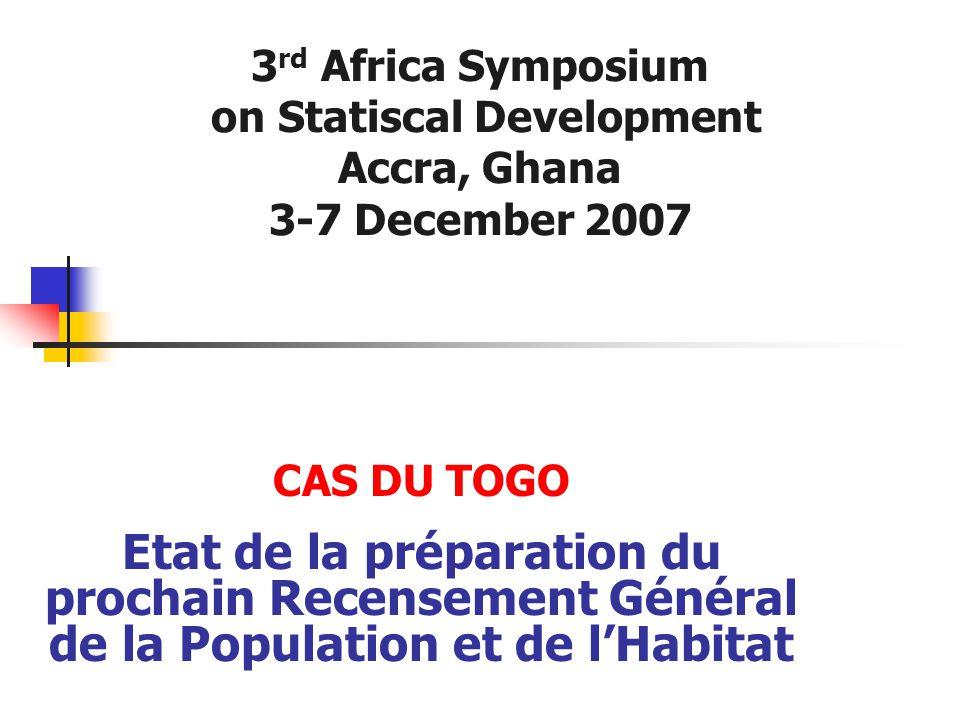 CAS DU TOGO Etat de la préparation du prochain Recensement Général de la Population et de l'Habitat 3 rd Africa Symposium on Statiscal Development Acc