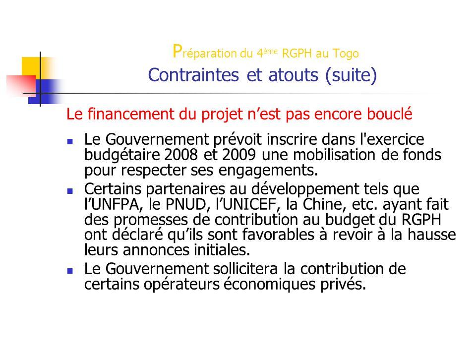 P réparation du 4 ème RGPH au Togo Contraintes et atouts (suite) Le financement du projet n'est pas encore bouclé Le Gouvernement prévoit inscrire dans l exercice budgétaire 2008 et 2009 une mobilisation de fonds pour respecter ses engagements.