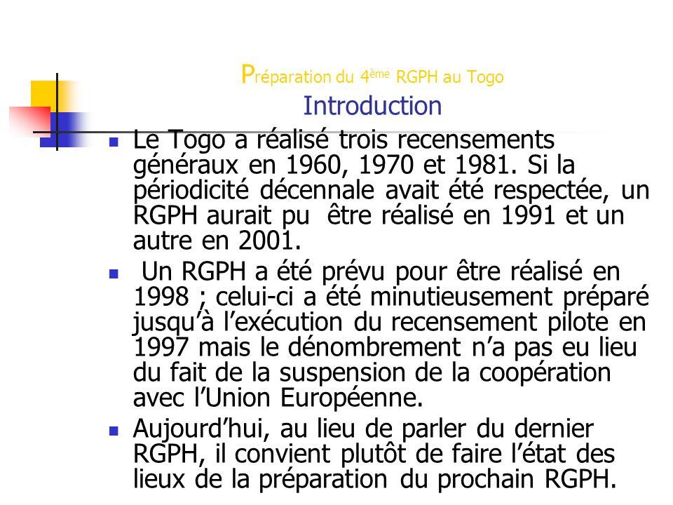 P réparation du 4 ème RGPH au Togo Introduction Le Togo a réalisé trois recensements généraux en 1960, 1970 et 1981. Si la périodicité décennale avait