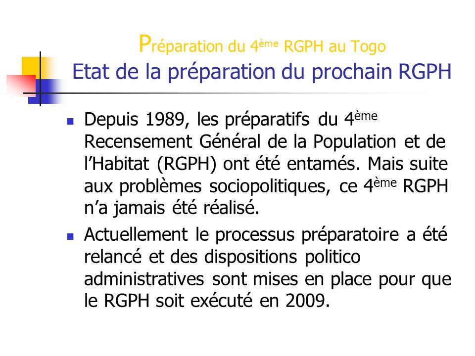 P réparation du 4 ème RGPH au Togo Etat de la préparation du prochain RGPH Depuis 1989, les préparatifs du 4 ème Recensement Général de la Population et de l'Habitat (RGPH) ont été entamés.