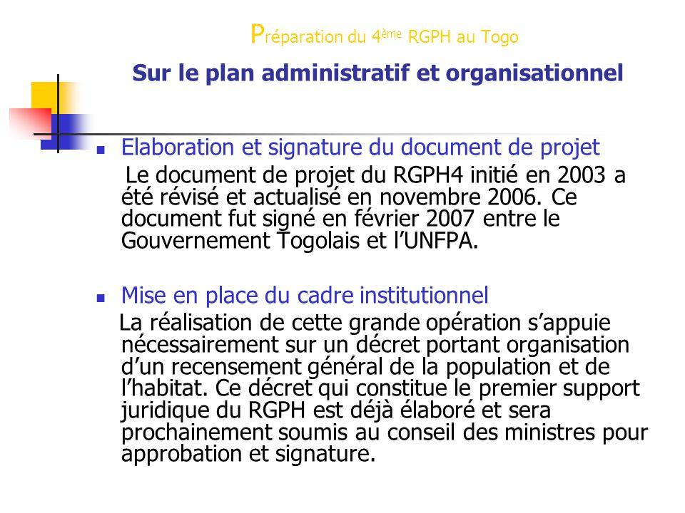 P réparation du 4 ème RGPH au Togo P réparation du 4 ème RGPH au Togo Sur le plan administratif et organisationnel Elaboration et signature du document de projet Le document de projet du RGPH4 initié en 2003 a été révisé et actualisé en novembre 2006.