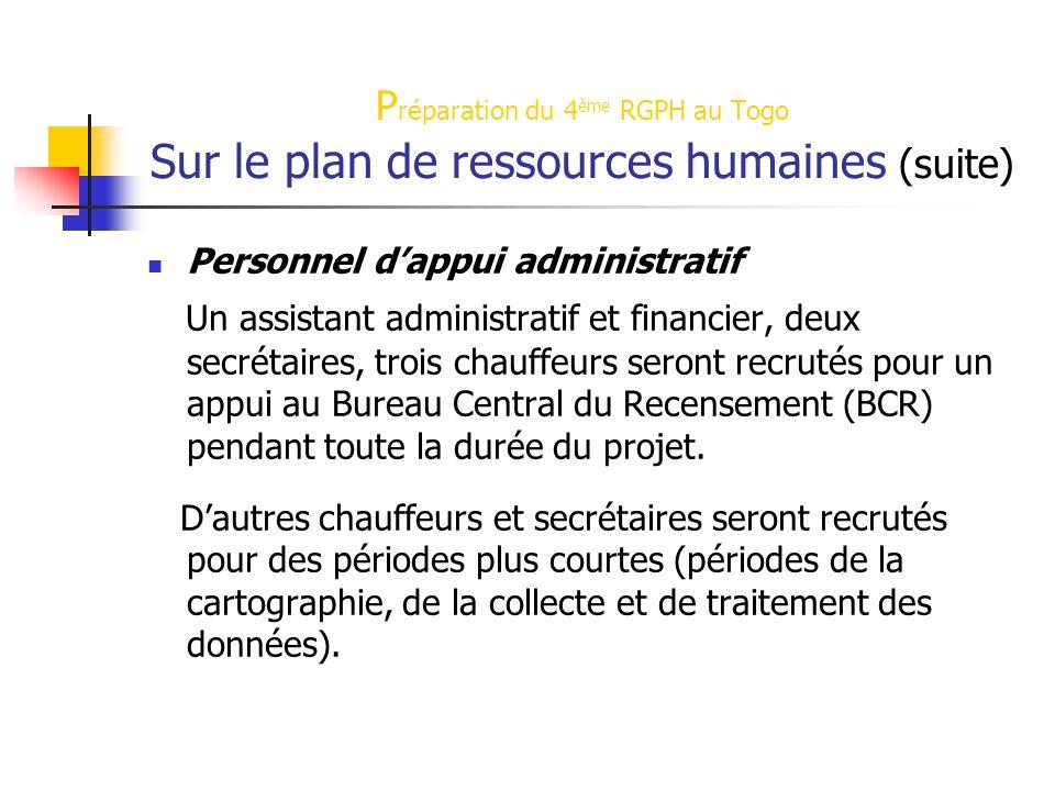 P réparation du 4 ème RGPH au Togo Sur le plan de ressources humaines (suite) Personnel d'appui administratif Un assistant administratif et financier,