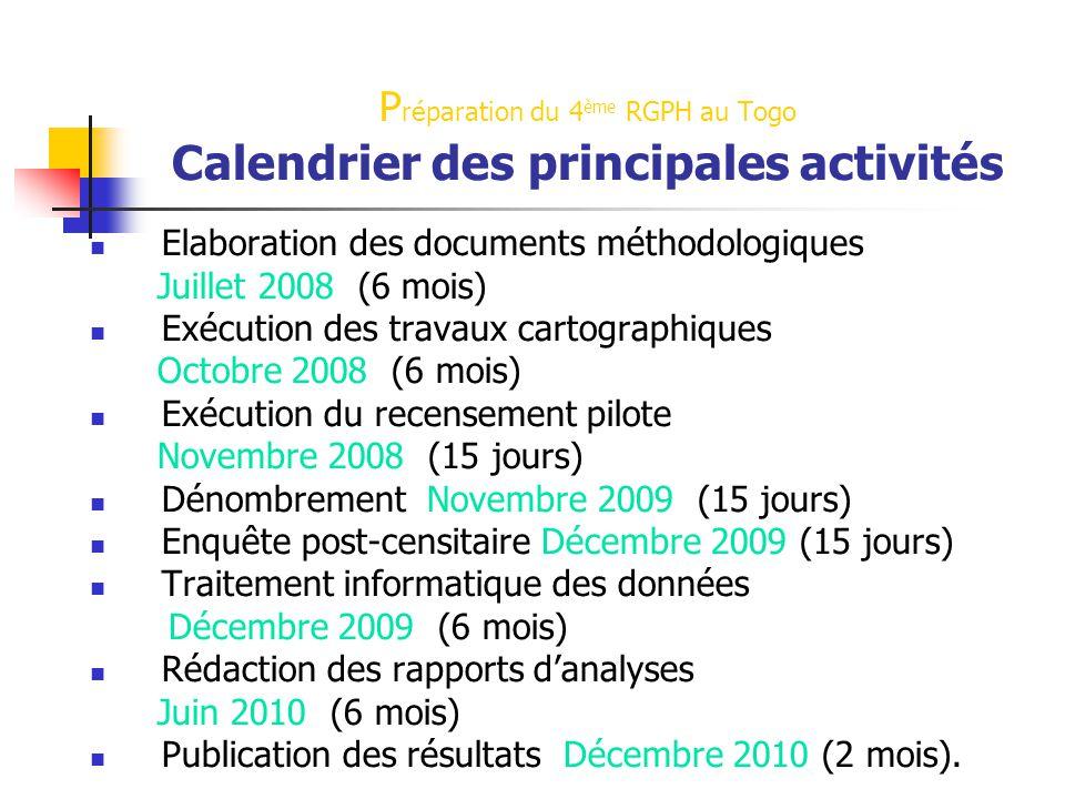 P réparation du 4 ème RGPH au Togo Calendrier des principales activités Elaboration des documents méthodologiques Juillet 2008 (6 mois) Exécution des