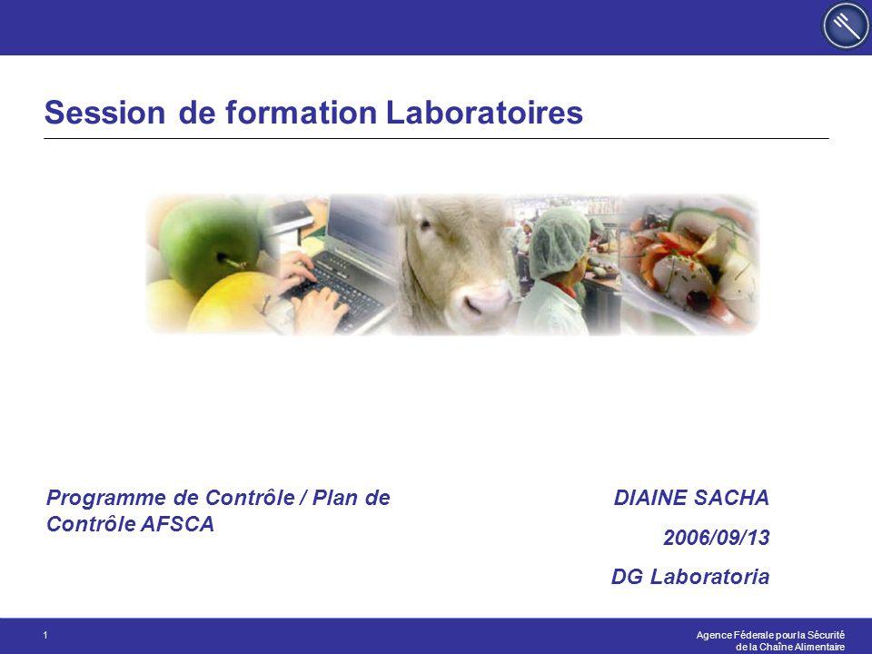 Agence Féderale pour la Sécurité de la Chaîne Alimentaire 1 Session de formation Laboratoires DIAINE SACHA 2006/09/13 DG Laboratoria Programme de Contrôle / Plan de Contrôle AFSCA