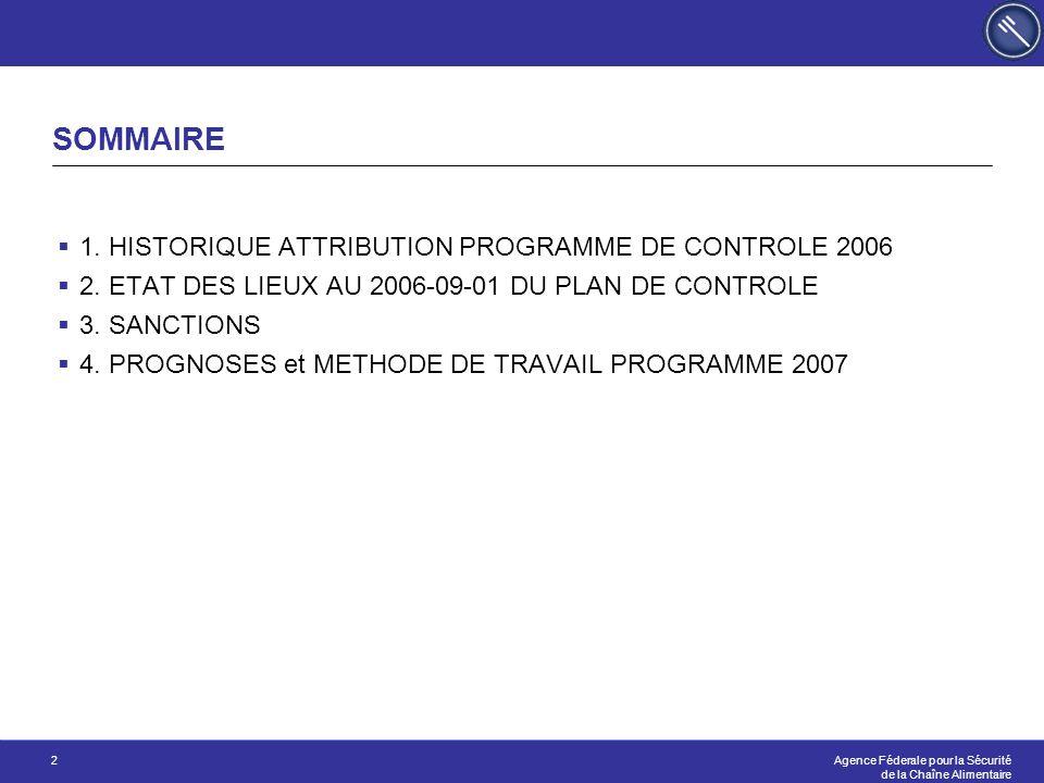 Agence Féderale pour la Sécurité de la Chaîne Alimentaire 2 SOMMAIRE  1.