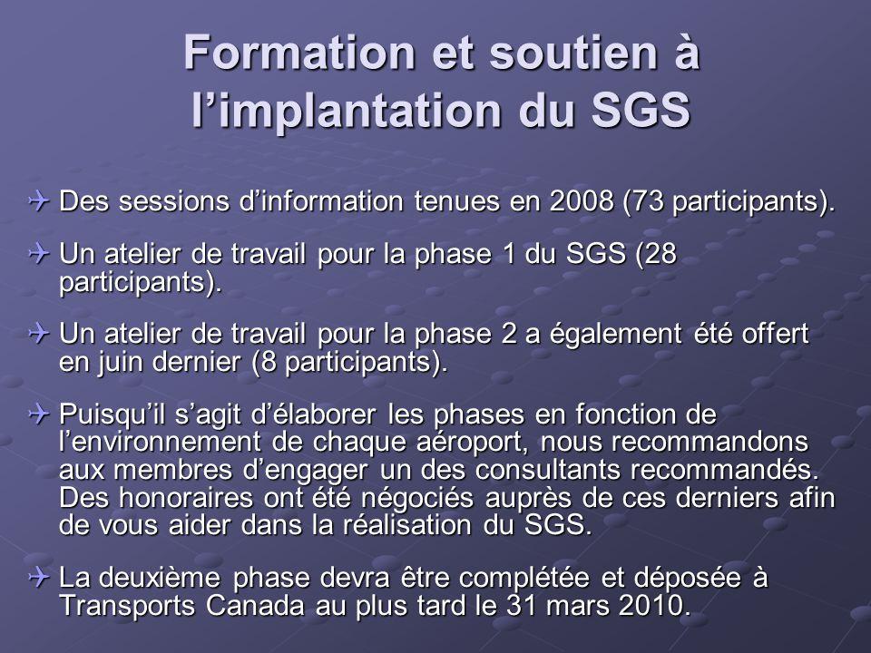Formation et soutien à l'implantation du SGS  Des sessions d'information tenues en 2008 (73 participants).