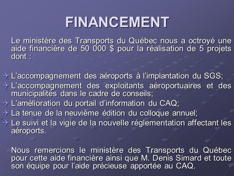 FINANCEMENT Le ministère des Transports du Québec nous a octroyé une aide financière de 50 000 $ pour la réalisation de 5 projets dont :  L'accompagnement des aéroports à l'implantation du SGS;  L'accompagnement des exploitants aéroportuaires et des municipalités dans le cadre de conseils;  L'amélioration du portail d'information du CAQ;  La tenue de la neuvième édition du colloque annuel;  Le suivi et la vigie de la nouvelle réglementation affectant les aéroports.