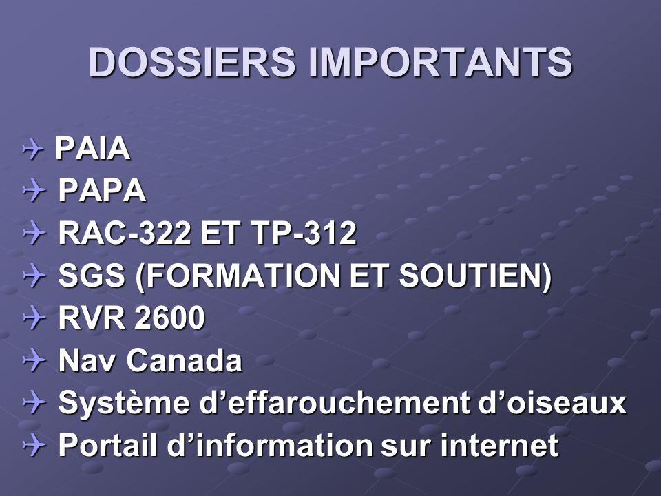 DOSSIERS IMPORTANTS  PAIA  PAPA  RAC-322 ET TP-312  SGS (FORMATION ET SOUTIEN)  RVR 2600  Nav Canada  Système d'effarouchement d'oiseaux  Portail d'information sur internet