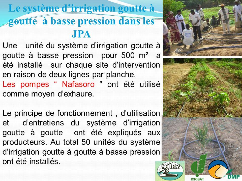 Une unité du système d'irrigation goutte à goutte à basse pression pour 500 m² a été installé sur chaque site d'intervention en raison de deux lignes