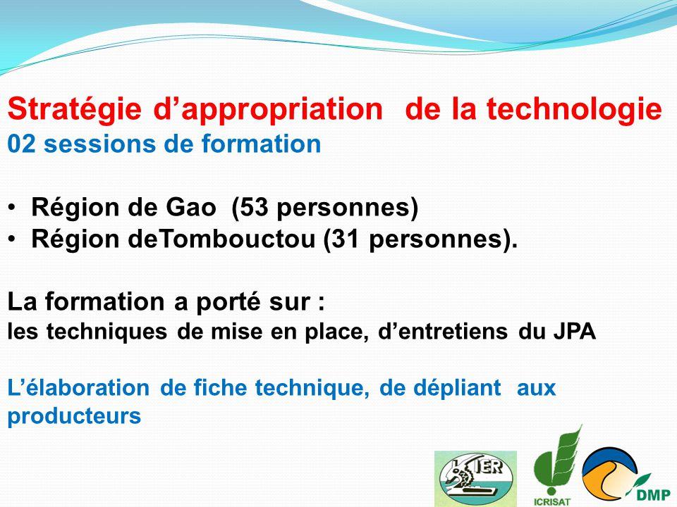 Stratégie d'appropriation de la technologie 02 sessions de formation Région de Gao (53 personnes) Région deTombouctou (31 personnes). La formation a p