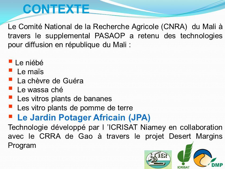 CONTEXTE Le Comité National de la Recherche Agricole (CNRA) du Mali à travers le supplemental PASAOP a retenu des technologies pour diffusion en répub