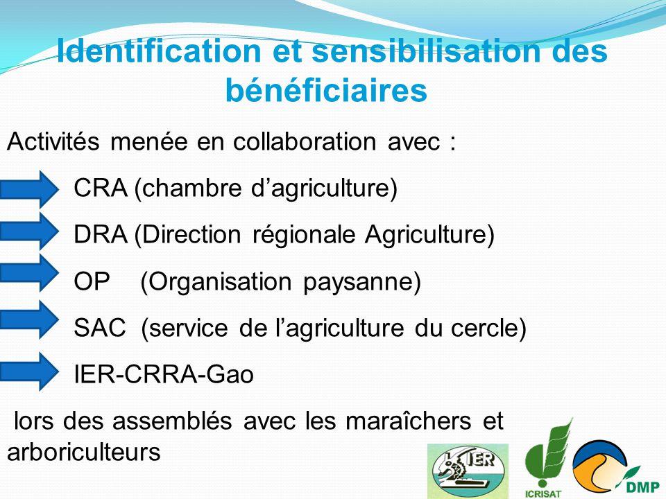 Identification et sensibilisation des bénéficiaires Activités menée en collaboration avec : CRA (chambre d'agriculture) DRA (Direction régionale Agric