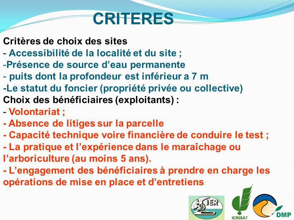 Critères de choix des sites - Accessibilité de la localité et du site ; -Présence de source d'eau permanente - puits dont la profondeur est inférieur