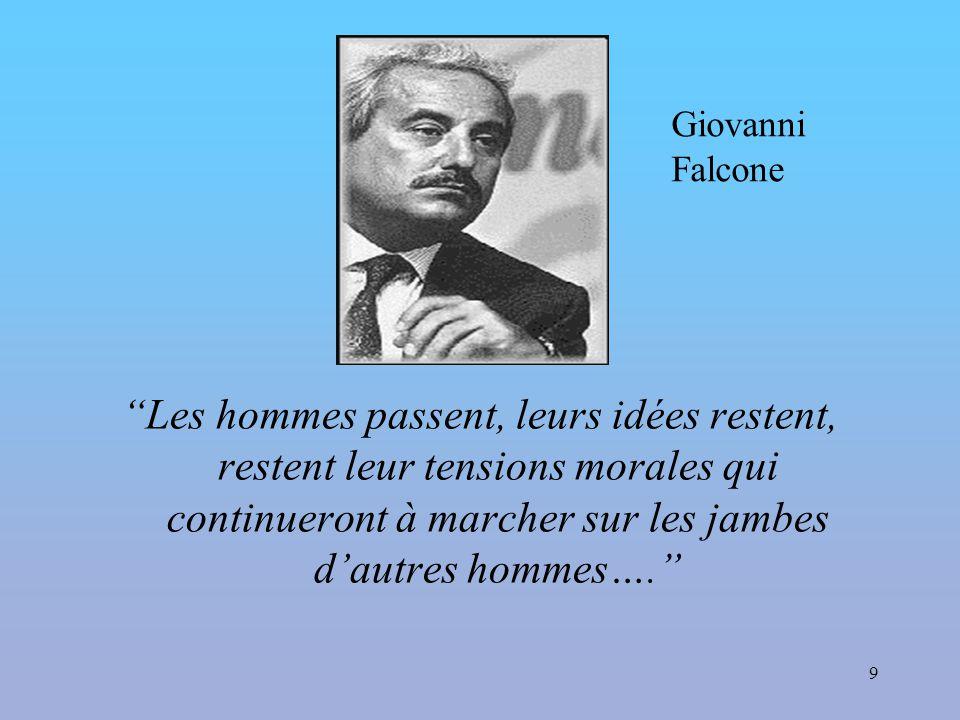 9 Les hommes passent, leurs idées restent, restent leur tensions morales qui continueront à marcher sur les jambes d'autres hommes…. Giovanni Falcone