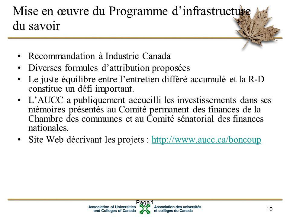 Page 1 10 Mise en œuvre du Programme d'infrastructure du savoir Recommandation à Industrie Canada Diverses formules d'attribution proposées Le juste équilibre entre l'entretien différé accumulé et la R-D constitue un défi important.