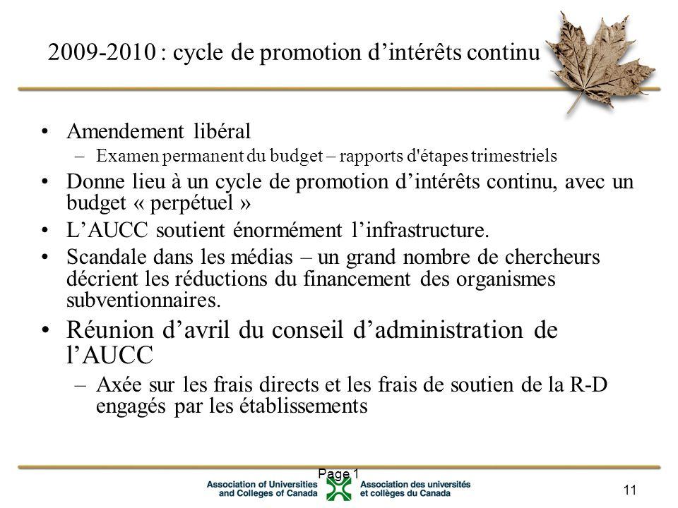 Page 1 11 2009-2010 : cycle de promotion d'intérêts continu Amendement libéral –Examen permanent du budget – rapports d étapes trimestriels Donne lieu à un cycle de promotion d'intérêts continu, avec un budget « perpétuel » L'AUCC soutient énormément l'infrastructure.