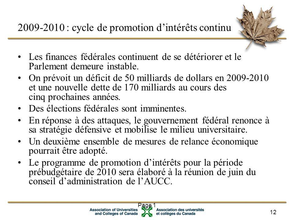 Page 1 12 2009-2010 : cycle de promotion d'intérêts continu Les finances fédérales continuent de se détériorer et le Parlement demeure instable.