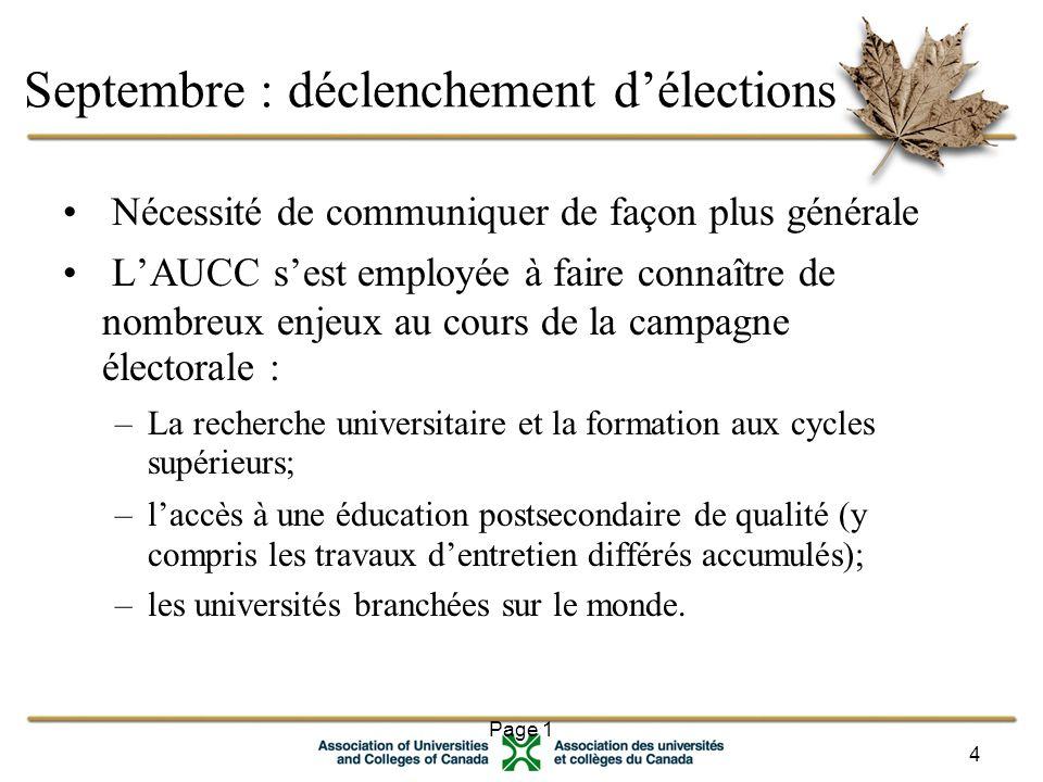 Page 1 4 Septembre : déclenchement d'élections Nécessité de communiquer de façon plus générale L'AUCC s'est employée à faire connaître de nombreux enjeux au cours de la campagne électorale : –La recherche universitaire et la formation aux cycles supérieurs; –l'accès à une éducation postsecondaire de qualité (y compris les travaux d'entretien différés accumulés); –les universités branchées sur le monde.