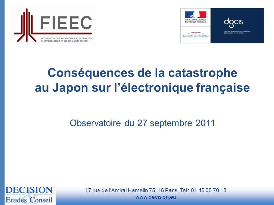 Conséquences de la catastrophe au Japon sur l'électronique française Observatoire du 27 septembre 2011 17 rue de l'Amiral Hamelin 75116 Paris, Tel : 0