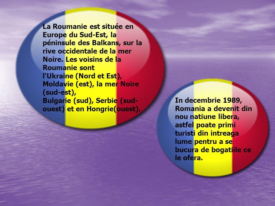 La Roumanie est située en Europe du Sud-Est, la péninsule des Balkans, sur la rive occidentale de la mer Noire. Les voisins de la Roumanie sont l'Ukra