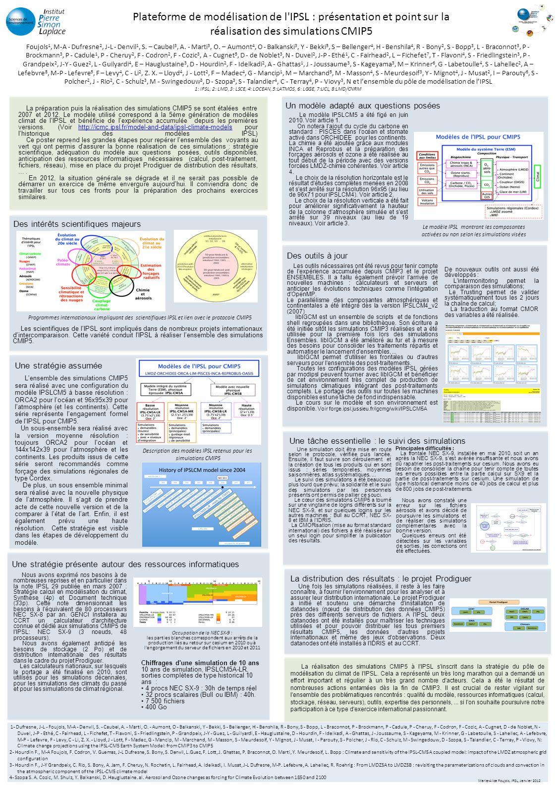 Plateforme de modélisation de l IPSL : présentation et point sur la réalisation des simulations CMIP5 Foujols 1, M-A - Dufresne 2, J-L - Denvil 1, S.