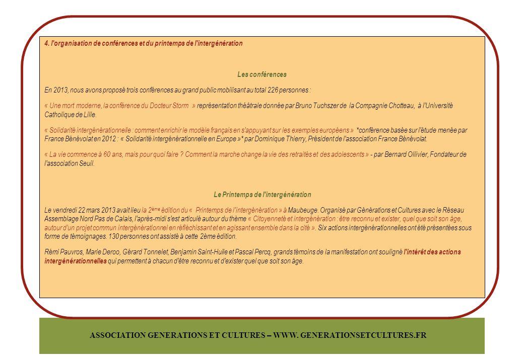 ASSOCIATION GENERATIONS ET CULTURES – WWW.