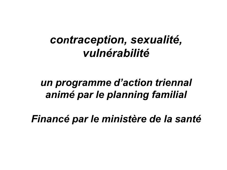 co n traception, sexualité, vulnérabilité un programme d'action triennal animé par le planning familial Financé par le ministère de la santé