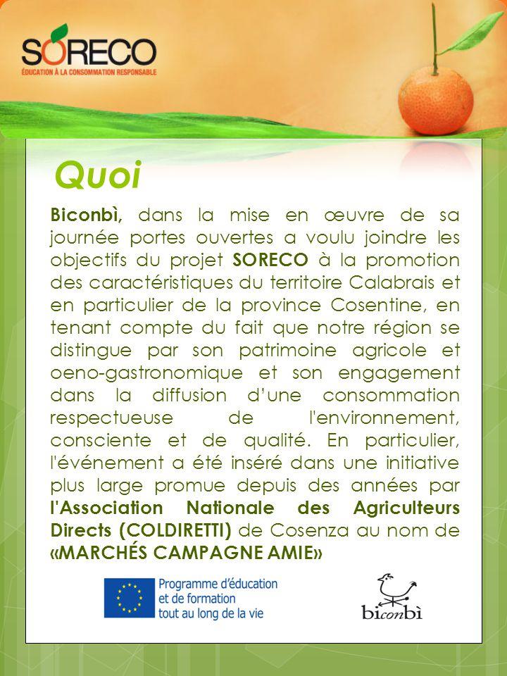 Quoi Biconbì, dans la mise en œuvre de sa journée portes ouvertes a voulu joindre les objectifs du projet SORECO à la promotion des caractéristiques d