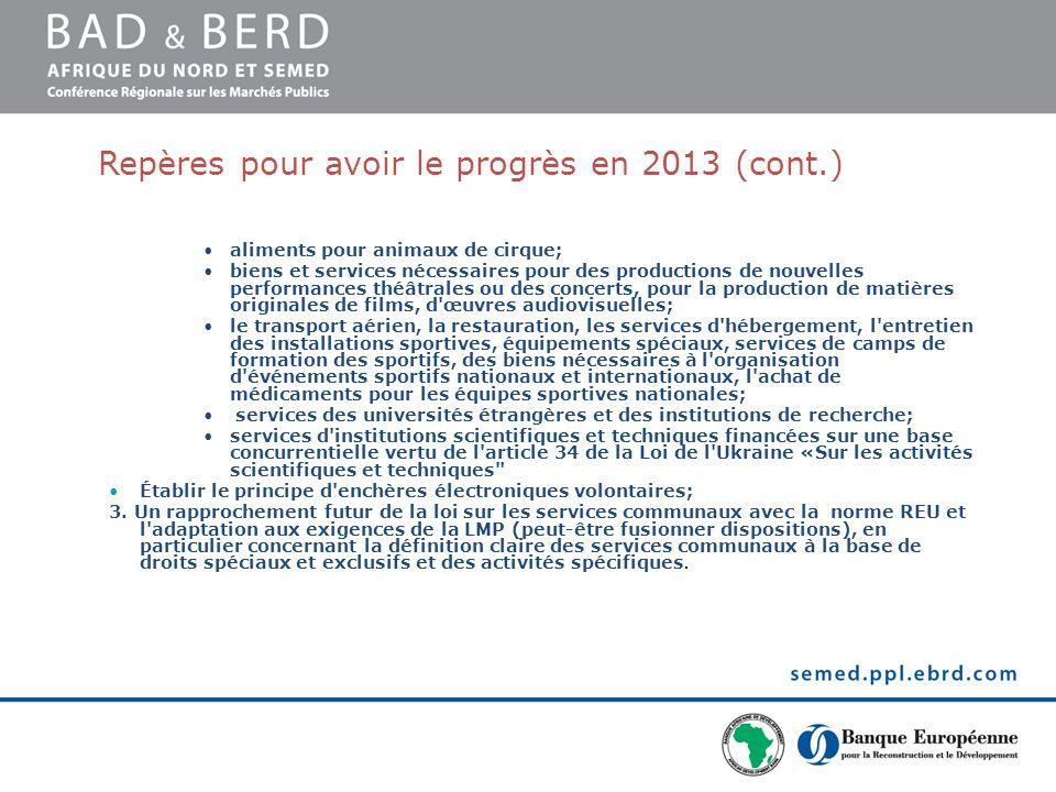 Repères pour avoir le progrès en 2013 (cont.) aliments pour animaux de cirque; biens et services nécessaires pour des productions de nouvelles perform