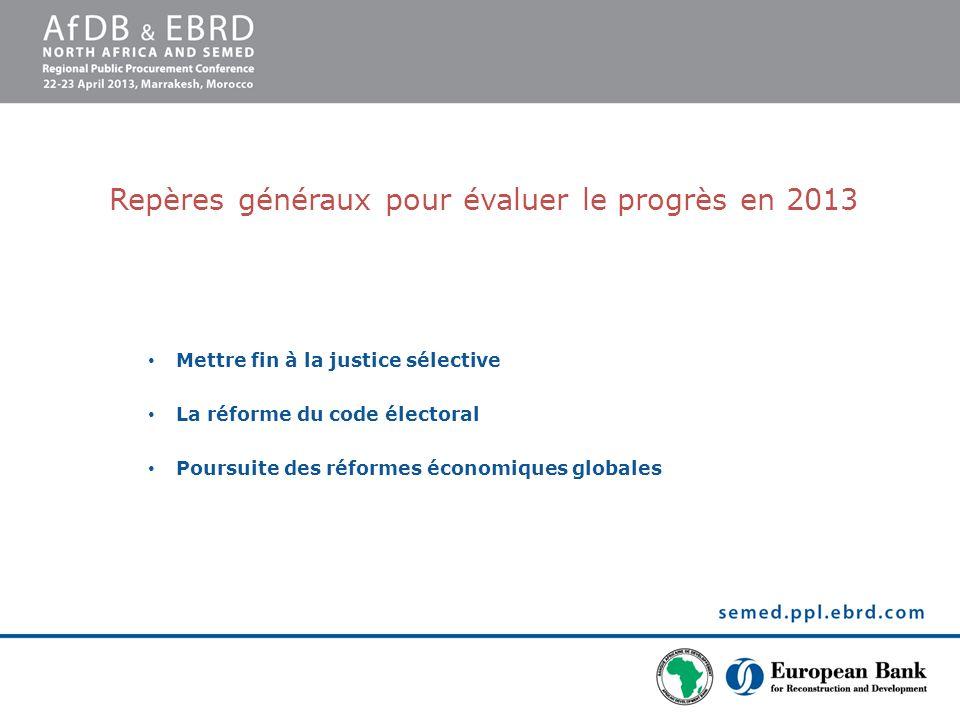 Repères généraux pour évaluer le progrès en 2013 Mettre fin à la justice sélective La réforme du code électoral Poursuite des réformes économiques glo
