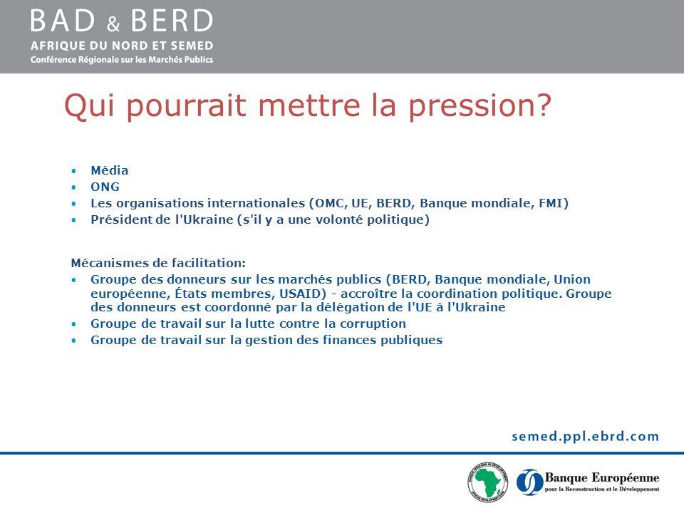 Qui pourrait mettre la pression? Média ONG Les organisations internationales (OMC, UE, BERD, Banque mondiale, FMI) Président de l'Ukraine (s'il y a un