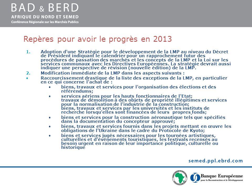 Repères pour avoir le progrès en 2013 1.Adoption d une Stratégie pour le développement de la LMP au niveau du Décret de Président indiquant le calendrier pour un rapprochement futur des procédures de passation des marchés et les concepts de la LMP et la Loi sur les services communaux avec les Directives Européennes.