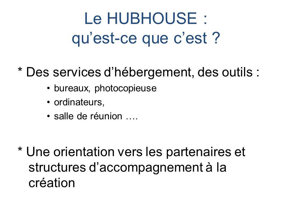 Le HUBHOUSE : qu'est-ce que c'est ? * Des services d'hébergement, des outils : bureaux, photocopieuse ordinateurs, salle de réunion …. * Une orientati
